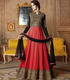 Buy Dark orange embroidered silk salwar anarkali with dupatta anarkali-salwar-kameez online