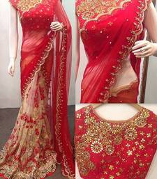 Buy Red embroidered georgette saree with blouse black-friday-deal-sale online