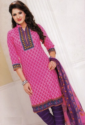 Dazzling Pink Printed Cotton  Dress Material D.No LS4557