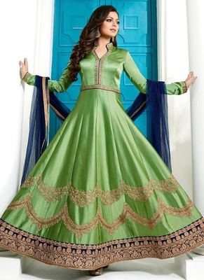 Green embroidered silk salwar with dupatta