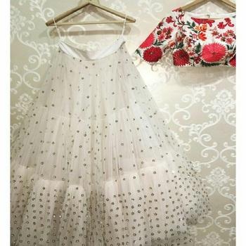 White embroidered silk semi stitched lehenga with dupatta