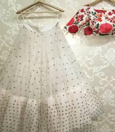 Buy White embroidered silk semi stitched lehenga with dupatta lehenga-choli online