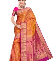 Buy Saffron plain pure silk saree with blouse kanchipuram-silk-saree online
