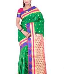Buy Green plain art silk sarees saree with blouse art-silk-saree online