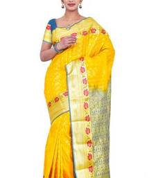 Buy Yellow plain art silk sarees saree with blouse haldi-ceremony-dress online