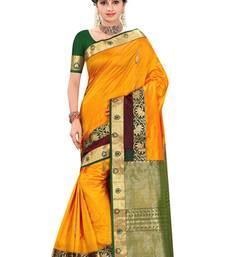 Buy Mustard plain pure silk saree with blouse kanchipuram-silk-saree online