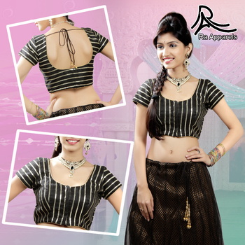 Black raw silk blouse with lace work Ready Made Padded Saree Blouse.