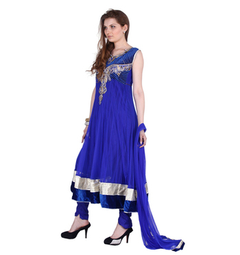 Designer Party Wear Net Blue Readymade Anarkali Churidar Kameez with Dupatta