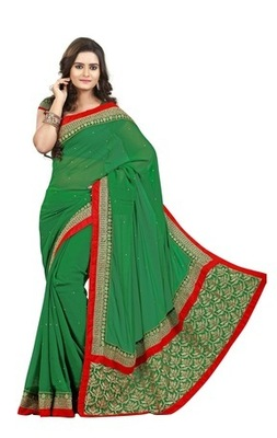 Green Border Worked Chiffon Saree With Blouse