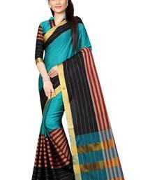 Buy Blue plain silk saree with blouse below-1500 online