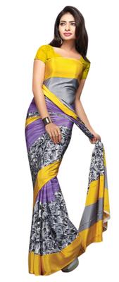 Purple Printed Crape Saree With Blouse
