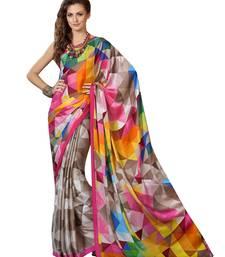 Buy Cream printed silk saree with blouse below-1500 online