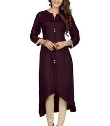 Buy Brown plain rayon long kurtis long-kurti online