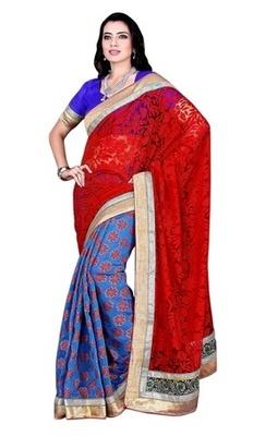 Blue Border Worked Net,Brasso,Chanderi Silk Saree With Blouse