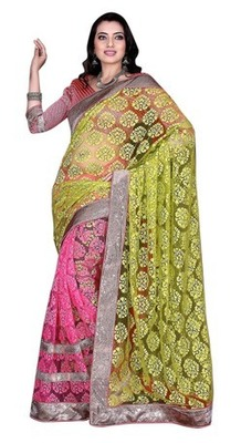 Pink Border Worked Net,Brasso Saree With Blouse