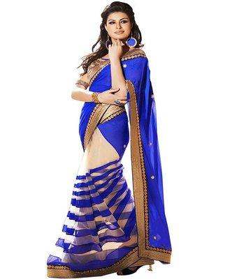 Blue plain net saree with blouse