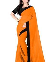 Buy Orange plain georgette saree with blouse below-1500 online