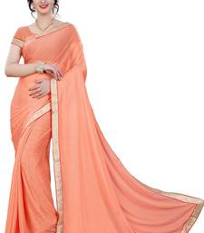 Buy Peach plain lycra saree with blouse below-400 online