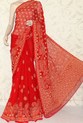 Hand Embroidered Lucknowi Chikankari Saree (With Blouse-Georgette)