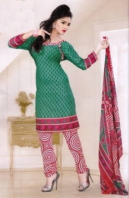 Beautiful Green Printed Crepe Unstitched Dress Material D.No LA4508