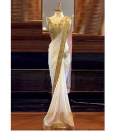 Buy White embroidered   chiffon saree with blouse party-wear-saree online