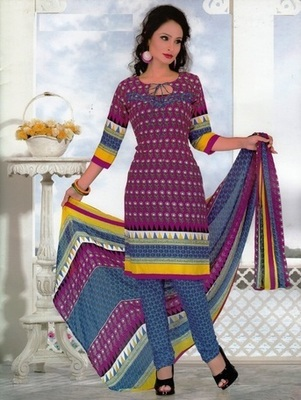 Radiant Purple Printed Crepe Unstitched Dress Material D.No SA8008