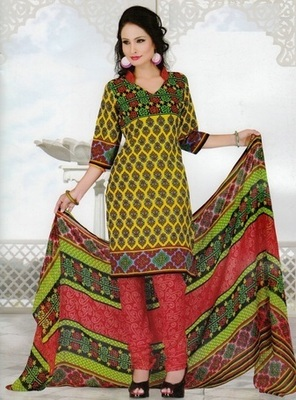 Fabulous Yellow Printed Crepe Unstitched Dress Material D.No SA8012