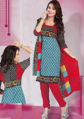 Beautiful Blue Printed Crepe Unstitched Dress Material D.No T25005