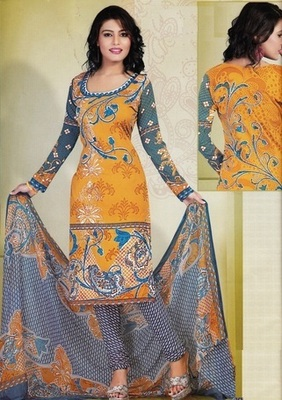 Trendy Orange Printed Crepe Unstitched Dress Material D.No T25006