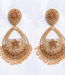golden and white color polki earring shop online