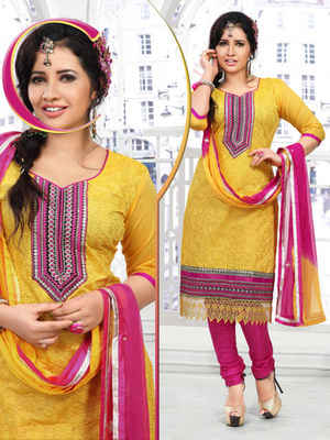 YELLOW Fancy Churidar Suits in designer style
