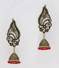 Buy Maroon Color Oxidised Gold Plated Ear Cuff Jhumka Earrings ear-cuff online