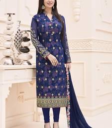 Buy Navy blue embroidered faux georgette salwar with dupatta ayesha-takia-salwar-kameez online