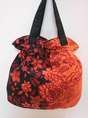 Orange Floral Hand Bag