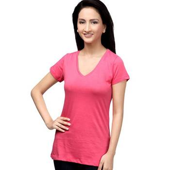 V Neck : Relaxed Fit : Bright Pink