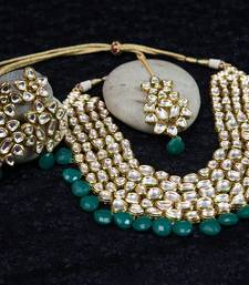Buy Designer Artificial Kundan And Beads With Matching Earring Birdal Necklace Set For Women Jewellery necklace-set online