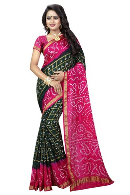 Multicolor hand woven silk saree with blouse