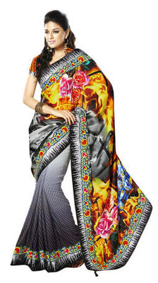 Multi Border Worked Satin,Faux Georgette Saree With Blouse