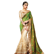 Buy Green georgette saree with blouse