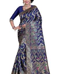 Buy Navy blue poly cotton saree with blouse below-1500 online