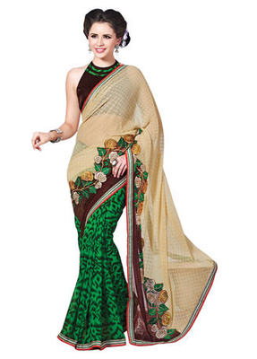 Green Printed Faux Georgette,Brasso Saree With Blouse
