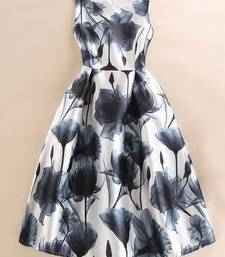 Buy White printed satin stitched silk-kurtis silk-kurti online