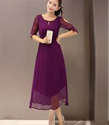 Buy Purple plain stitched georgette-kurtis georgette-kurti online