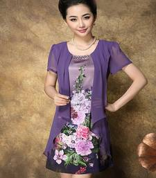 Buy Purple printed satin stitched silk-kurtis silk-kurti online