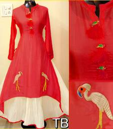 Buy Red embroidered chanderi stitched embroidered-kurtis embroidered-kurtis online
