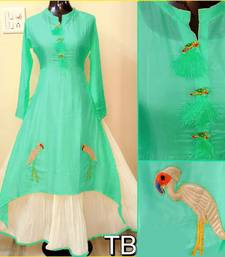 Buy Green embroidered chanderi stitched embroidered-kurtis embroidered-kurtis online