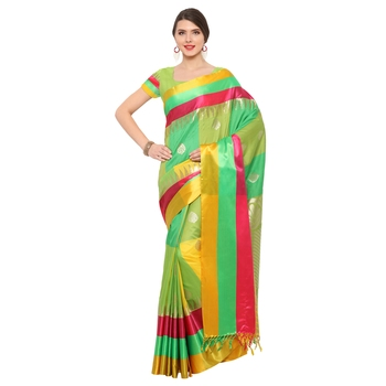 Multicolor woven katan silk saree with blouse
