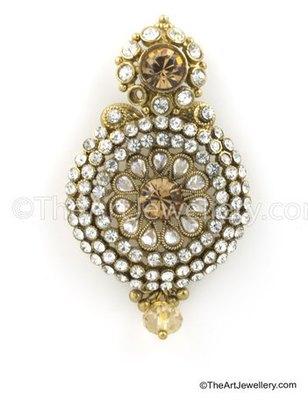 Golden Beige Traditional Rajwadi Dangle and Drop Earrings Jewellery for Women - Orniza