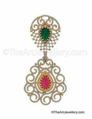 Red Green CZ AD American Diamond Dangle Earrings Jewellery for Women - Orniza