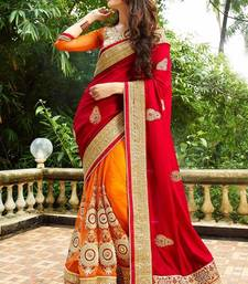 Buy Red embroidered faux georgette saree with blouse karwa-chauth-saree online
